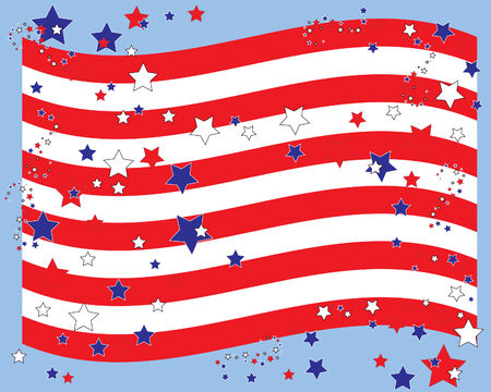 an illustration of a stylised american flag with red white and blue stars Vector