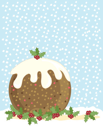 winter cherry: a hand drawn illustration of a christmas pudding with holly and a snowy background