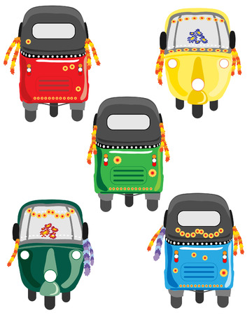 motorised: a hand drawn illustration of a variety of tuk tuks with different colors and floral decorations
