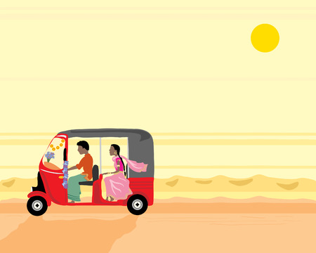 a hand drawn illustration of a tuk tuk with two people travelling along a dusty road in india under an orange sunset