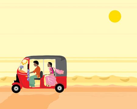 Ilustracja rysowane ręcznie tuk tuk z dwóch osób podróżujących wzdłuż dusty drodze w Indiach pomarańczowy zachód słońca