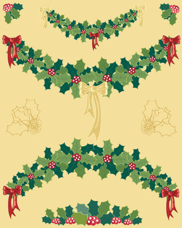 a hand drawn illustration of christmas holly garlands with red and gold ribbons on a gold background Stock Vector - 7442166