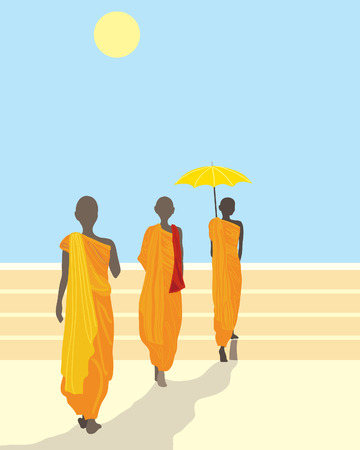 a hand drawn illustration of three buddhist monks walking in a line up some steps under a bright sun