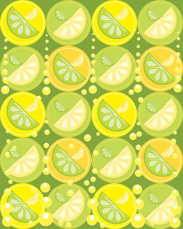 an illustration of slices of lemon and lime fruit on a yellow and green background with bubbles and circles Vector