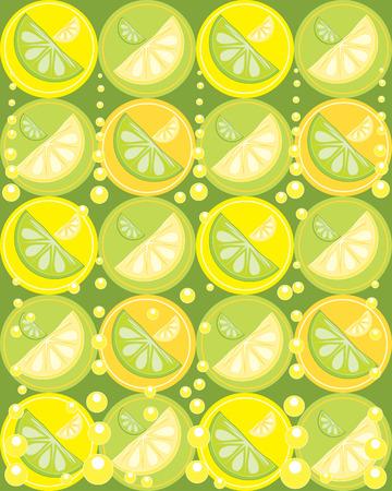 une illustration des tranches de citron et la chaux des fruits sur fond jaune et vert avec des bulles et des cercles  Vecteurs