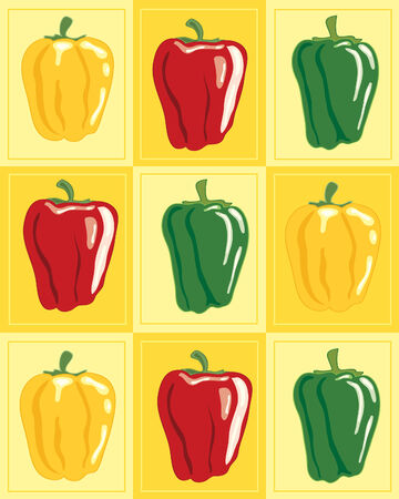 capsicum: a hand drawn illustration of green red and yellow capsicum on a lemon background