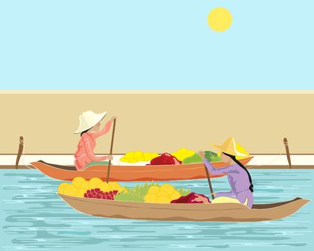 una ilustración de dibujado a mano de dos mujeres thai va a vender productos en un mercado flotante