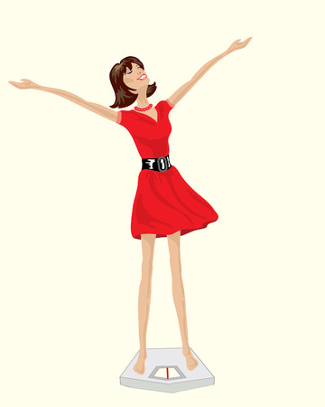 woman slim: a hand drawn illustration of a happy woman in a red dress standing on bathroom scales with her arms in the air Illustration