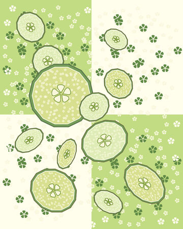 a hand drawn illustration of cucumber slices with flowers and a two tone green background Vector