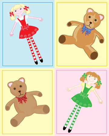 rag: a hand drawn illustration of teddy bears and rag dolls with a background of pastel colored rectangles