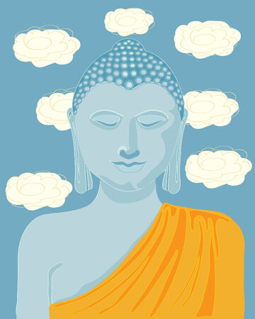 buddha lotus: a hand drawn illustration of buddha with orange robes and lotus flowers in the background