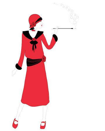 women smoking: una ilustraci�n de dibujado a mano de una mujer en los a�os veinte moda fumando un cigarrillo sobre un fondo blanco
