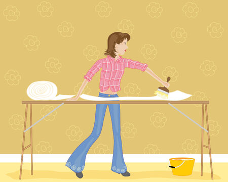 wallpapering: a hand drawn illustration of a woman wallpapering with paste board brush and bucket Illustration