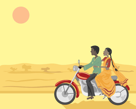 a hand drawn illustration of an indian man and woman travelling on a motorbike under the setting sun