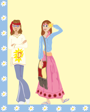 a hand drawn illustration of male and female hippies with retro clothing on a blue and yellow background