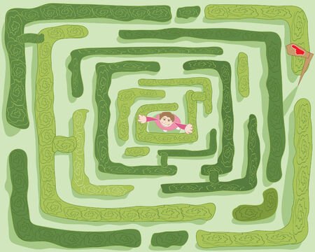 a hand drawn illustration of a girl in the middle of a maze with hedges and signpost