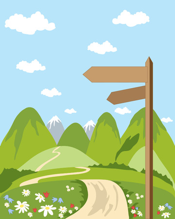 a hand drawn illustration of a signpost in beautiful countryside with snow capped mountains and blue sky