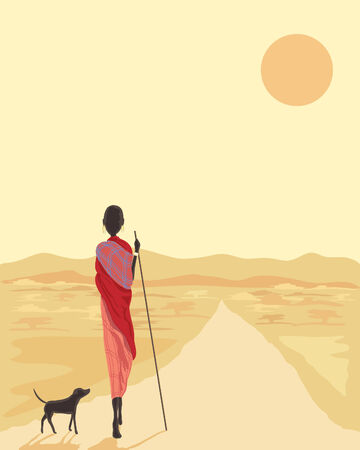 kenya: a hand drawn illustration of a masai man with his dog walking along a road in africa under the setting sun