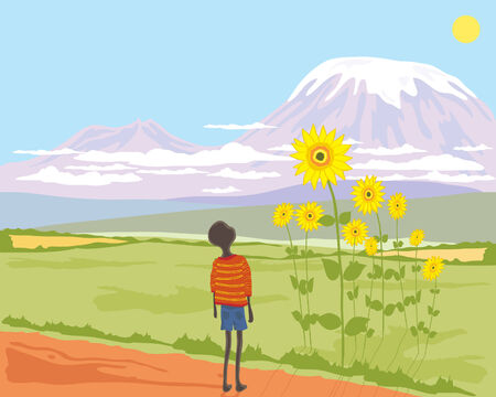 a hand drawn illustration of an african boy looking up at a sunflower with mount kilimanjaro in the background Vector