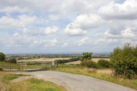 cattle grid: an english landscape with a country road and a cattle grid under a blue cloudy summer sky Stock Photo