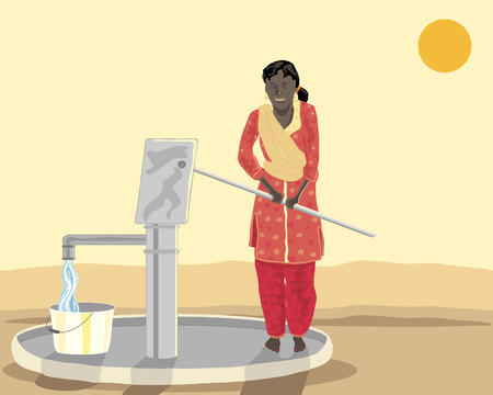 india people: a hand drawn illustration of an asian woman at a well pumping water dressed in salwar kameez under a setting sun