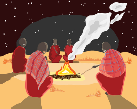 mara: a hand drawn illustration of a group of masai men around a camp fire under the stars