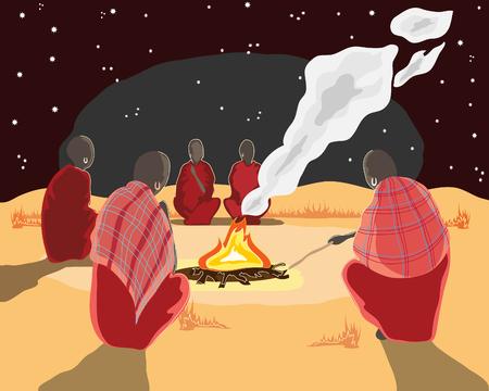 under fire: una mano dibuja ilustraci�n de un grupo de hombres Africana alrededor de un fuego campamento bajo las estrellas