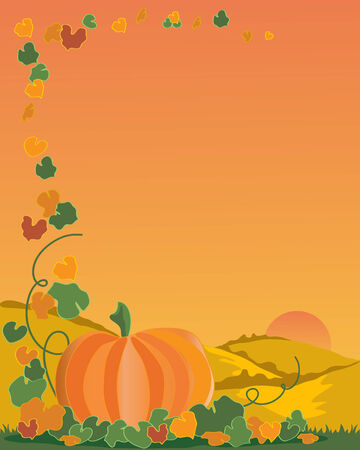a hand drawn illustration of a pumpkin with leaves and vines on a backdrop of a landscape under a setting sun Stock Vector - 7685796