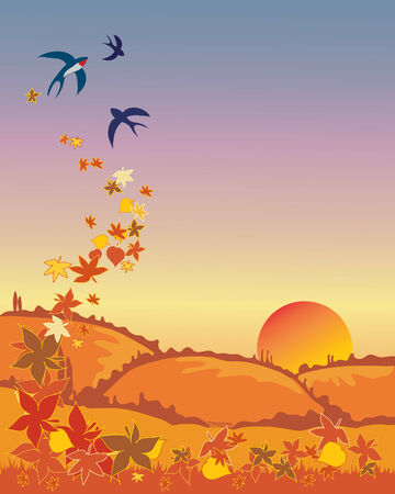 a hand drawn illustration of a group of swallows leaving in autumn with leaves and a sunset landscape Vectores