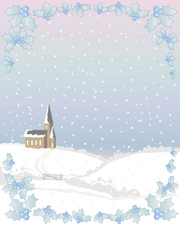 a hand drawn illustration of an inviting church on a hill in the snow at christmas with holly and snowflakes Stock Vector - 7685816