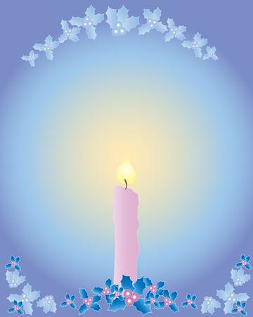 una mano disegnato illustrazione di una candela di Natale con agrifoglio decorazione su uno sfondo multicolore  Archivio Fotografico - 7685819