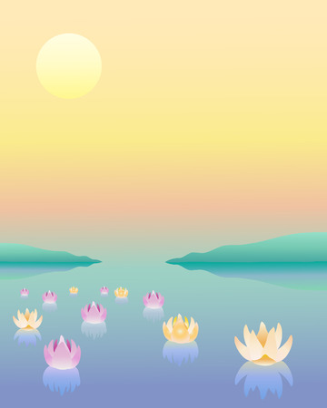 pink hills: a hand drawn illustration of a lagoon with lotus flowers on water under a setting sun Illustration