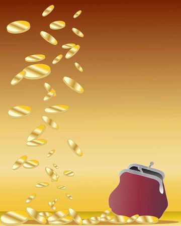 una ilustración de dibujado a mano de algunas monedas de oro cayendo cerca de un bolso de terciopelo sobre un fondo de oro