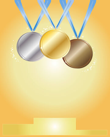 a hand drawn illustration of award medals in gold silver and bronze left blank for your design Vector
