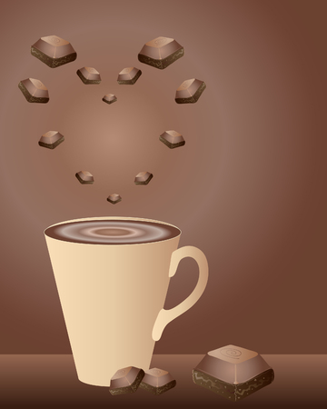 indulgence: a hand drawn illustration of a mug of hot chocolate with chocolate pieces in a heart shape