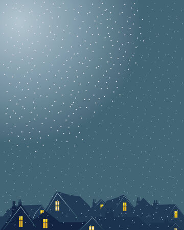 a hand drawn illustration of a skyline with rooftops and windows on a snowy evening in a city Vector