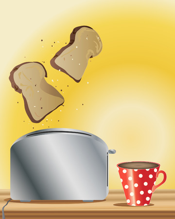 a hand drawn illustration of freshly made toast and a cup of hot coffee on a yellow background Stock Vector - 7771629