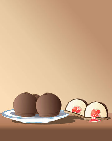 indulgence: a hand drawn illustration of chocolate marshmallows on a plate with jam in the middle on a brown background