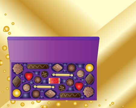 indulgência: a hand drawn illustration of an open box of chocolates on a gold background