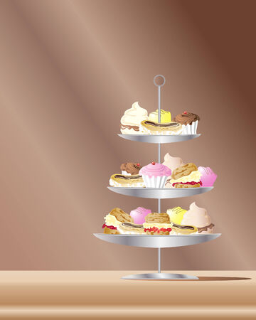 an illustration of confectionery cakes on metal stand with a brown background