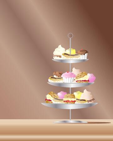 een illustratie van zoetwaren taarten op metaal staan met een bruine achtergrond
