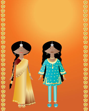 an illustration of two indian ladies wearing saree and salwar kameez on an orange background with gold flowers Vector