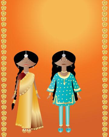 een illustratie van twee Indiase dames dragen sari en salwar kameez op een oranje achtergrond met gouden bloemen Stock Illustratie