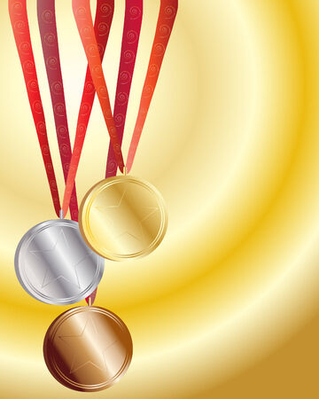 an illustration of gold silver and bronze medals with red ribbons on a gold background Vector