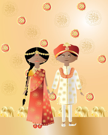 an illustration of an asian wedding with a man and woman dressed in saree and salwar kameez with intricate designs on a gold background Vector