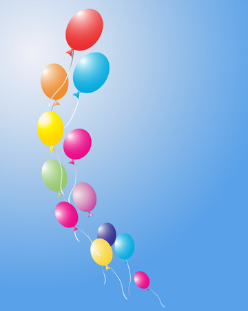 red balloons: an illustration of colored balloons floating away in a blue sky