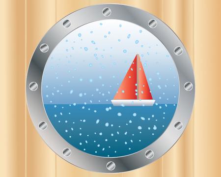 ventana ojo de buey: una ilustraci�n de un bote de vela, visto a trav�s de un baches con gotas de lluvia sobre vidrio