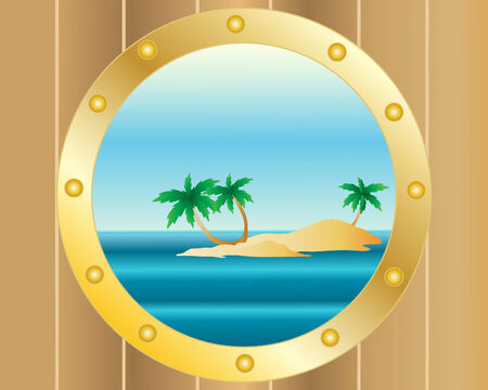 an illustration of a tropical desert island with palm trees viewed through a porthole on a ship Stock Vector - 7878522