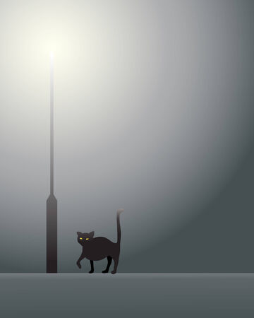 an illustration of a lamp post with yellow light on a misty evening with a black cat  Vector