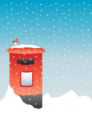 red post box: an illustration of a bright red post box in the snow with a robin sat on the top